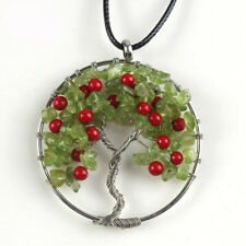 Tree Of Life Genuine Oliver Peridot Red Agate Gems Silver Necklace Pendants