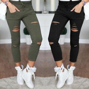 Womens Ripped Stretchy Jeggings Leggings Ladies Skinny Slim Fit Pants Size 10-22