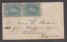 **CSA Cover, SC# 4b(Pair), Milky Blue, Charlottesville, VA, 7/30/1862