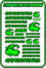 CAPRICORN RC STICKER A5 LAB 1/8 F1 1/10 TESLA ELECTRIC NITRO CAR HARD GREEN B