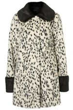 BNWT TOPSHOP UK SIZE 10-12 FAUX FUR OFF WHITE DALMATION PRINT COAT JACKET WOMENS
