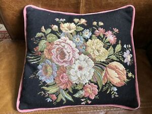 Vintage Tapestry Embroidered Needlepoint Cushion Bouquet Of Flowers Velvet Back