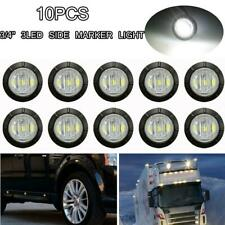 """10X White Mini 3/4"""" Round 3 LED Side Light LED Marker Trailer Truck Lamps 12V"""