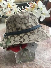 NWT Coach Signature Crusher khaki/Navy Canvas Hat Size XS/S F83636 MSRP $128