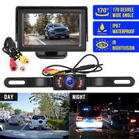 """4.3"""" LCD Monitor Car Camera Rear View Backup Parking Reverse Kit w/ Night Vision"""