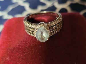 Kay Le Vian Aquamarine Ring 1/2 ct tw Diamonds 14K Vanilla Gold - Size 6.5