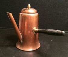 Copper Coffee Pot with Black Wooden Handle 7'' Tall