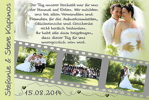 50 Danksagungskarten Hochzeit Danksagungen Fotokarte Hochzeitskarte Danke Foto