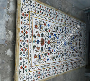 8'x4' White Marble Dining Room Top Table Floral Marquetry Inlaid Furniture E352