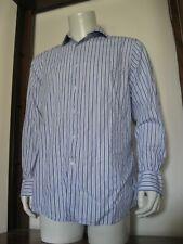 16 1/2 34/35 Men Bachrach Long Sleeve Button Down Dress Shirt White Blue Stripe