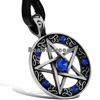 Stainless Steel Pentacle Circle Pendant Blue Rhinestone Necklace w Leather Chain