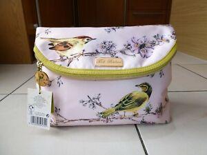 *TED BAKER* Ladies Pink Satin BIRD PRINT COSMETIC TOILETRY WASH BAG BNWT rrp£45