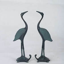 Chinese Bronze Hand-carved Double  Bird & Tortoise Statue QT028