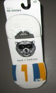 PAIR OF THIEVES~Size 8-12~Men's 3 Pr White / Indigo Sunday Driver No-Show Socks