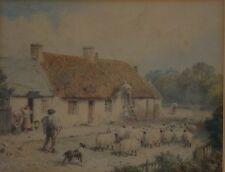 Myles Birket FOSTER(1825-1899) Watercolour Shepherd & His Flock infront a House