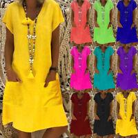 Womens V neck Ladies Party Holiday Pockets Short Sleeve Casual Baggy Midi Dress