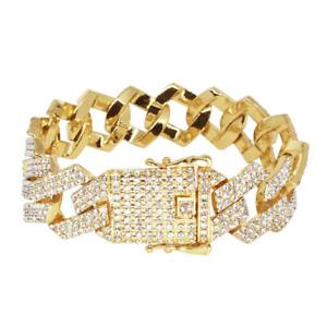 Iced Cuban Link Out Prong VVS Diamond Bracelet 20mm 18K Gold Plated Rapper New
