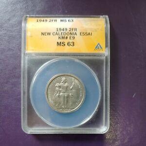 Coin, New Caledonia, 2 Francs, 1949, Paris, ESSAI,ANACS MS63 Nickel-Bronze
