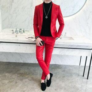 Men's Leather Suit Blazer Jacket Pants 2PCS Slim Fit One Button Nightclub Biker