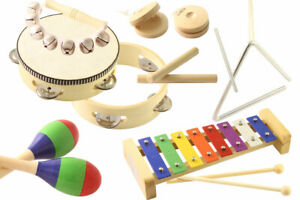 Kinder Musikinstrumente Set Triangel Glockenspiel Tambourin Schellenkranz NEU