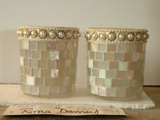 Home Interiors Seascape Mosaic Candleholders (2) Roma Downey Collection # 12634