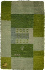 Tribal Hand-Knotted Green Modern 1'6X2'6 Small Oriental Rug Home Decor Carpet