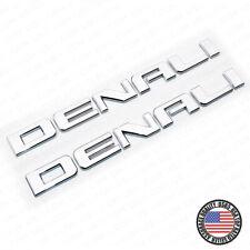 2x Denali Door Tailgate Letter Nameplate Emblem SUV HD Badge GMC 3D HD Chrome
