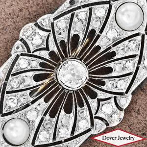 Antique Deco 3.85ct Diamond Pearl Platinum Elegant Filigree Pin 11.6 Grams NR