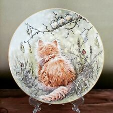 Vintage Kitten Birdwatcher Collectible Plate-Hamilton Collection-Royal Worcester
