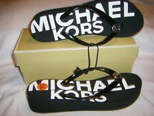 Michael Kors Flip-Flop Thong MK Logo Sandal Black/White Womens SZ 11 NEW IN BOX