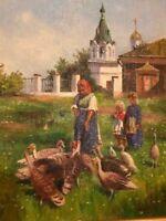 Capolavoro DIPINTO olio su tela  VILLAGGIO RUSSO i bambini