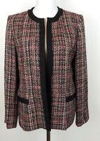 Kasper Womens 10 Red Black Gold Sparkle Tweed Career Holiday Blazer Jacket
