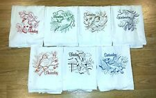 COLORED BIRDS DAYS OF THE WEEK EMBROIDERED FLOUR SACK DISH TOWELS