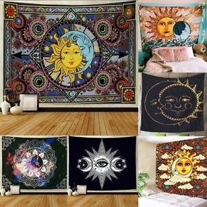 Celestial Sun and Moon Mandala Hippy Tapestry Wall Hanging Tapestry Home Decor