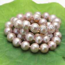 """Fashion 9-10mm natural freshwater cultured round purple pearl necklace 19"""""""