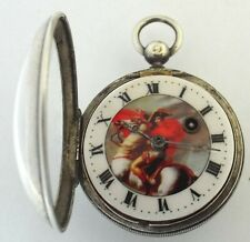 RARE SILVER  PICTURE DIAL OF NAPOLION ON MARENGO VERGE FUSEE  WATCH WRKING WELL