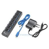 7 Port USB 3,0 HUB Verteiler Adapter mit USB Kabel & Netzteil für Notebook PC