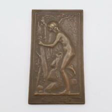 """Antique Daniel Dupuis Miniature Bronze Plaque """"Le Nid"""""""