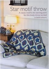 "THROW/BLANKET~THREE COLOURS FOR STAR MOTIF~CROCHET PATTERN~SIZE 39X39""  (ATH25)"