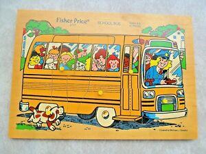 Vintage Fisher Price School Bus 2717 Pick Up Peg & Peek Wood 12 Piece Puzzle