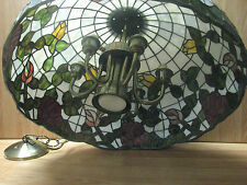 Large Beautiful Vintage TIffany Style Stained Glass Shade, w/Chandelier Fixture