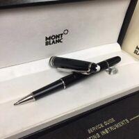 Luxury MB P163 Meisterstuck Bright Black Silver Clip M Rollerball Pen No Box