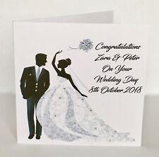 Handmade Personalised Wedding Bride & Groom Congratulations Card Embellished
