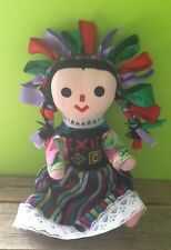 Hand Made Crafted Rag Doll Mexico Mexican Colorful Tight Stuffed Pink Face