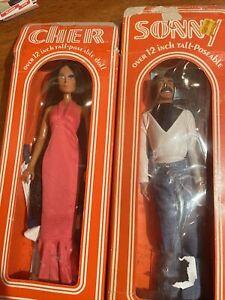 """NRFB Vintage Mego Sonny and Cher 1976 12"""" Dolls In Original Box I Got you Babe!"""