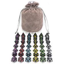 6 Sets of 7 Dice DND Black Multi Color Numbers Board Game Free Velvet Grey Bag