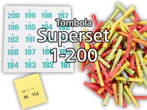 Röllchenlose bunt & Aufkleber 1-200 Lotterielose Tombola Lose Tombolalose Gewinn