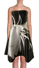 ML Monique Lhuillier ~ Black Floral Print Fit and Flare Formal Dress 12 NEW $598