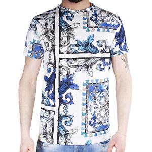 T-Shirt Uomo Maglia Mezza Manica Girocollo Casual a Fantasia Blu Cotone SARANI