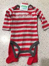 #2067 BOY INFANT 0-3MO 2PC STRIPED BODYSUIT RED PANTS MOMMY'S HEARTBREAKER NEW